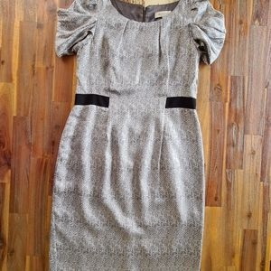 Veronika Maine Silk Grey Midi Dress Sz 12